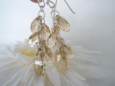 Gyldne krystaller og sølv ørepynt