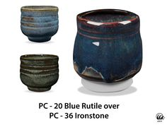 Great for layering and textured work, Blue Rutile is an active, complex glaze that is a flowing blue where thick and breaks brown where thinner. Great for layering and always interesting, this glaze is always one of our top selling Potters Choice glazes! Due to the powdered nature of the materials involved with the dry-mix dipping buckets of this product, their respective health information and labels differ from the brushing glazes.