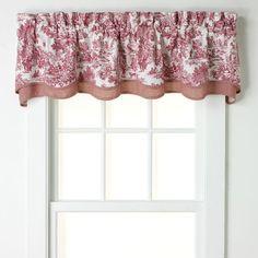 Ellis Curtains Toile Bradford Window Valance (130 BRL) ❤ liked on Polyvore featuring home, home decor, window treatments, curtains, red, red curtains, red plaid valance, plaid curtains, window coverings and rod pocket valance