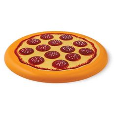 """Frisbee pizza   Disque en plastique durable  Jeu d'extérieur   Parfait pour : la plage, les fêtes à la piscine, le camping et plus   Taille : 10"""" de diamètre  ages 8+Frisbee Passe la pizza! Flying Food Frisbee, BigMouth, lideecadeauweb"""