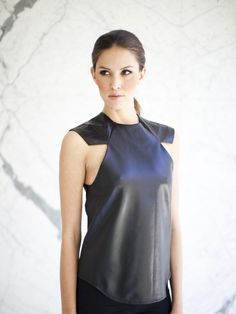 Girl Armor Leather Vest Black