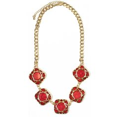 HandPicked: Gold Detailed Red Square Necklace  - $20.00