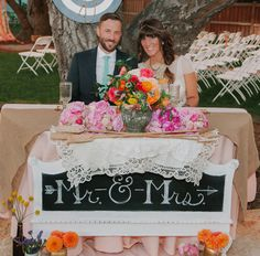 Mr. and Mrs. chalkboard sign for bride and groom's table