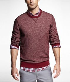 @Express Life Mens Marled Crewneck Sweatshirt Tempest Red - $49.90