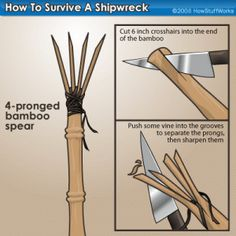 How to Make a Bamboo Spear http://www.infohow.org/survival-diy/survival-tips-a/