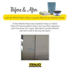 ENJO Fabric Glove, Laundry Miracle & Marble Paste was used to remove pen stains off curtain blinds.