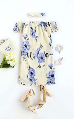 Blue and White Off The Shoulder Floral Dress