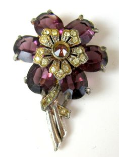 Herman POMERANTZ Dress Clip Art Deco Amethyst Glass Rhinestone Floral TREASURY Piece!! by PASTIMEJEWELS on Etsy