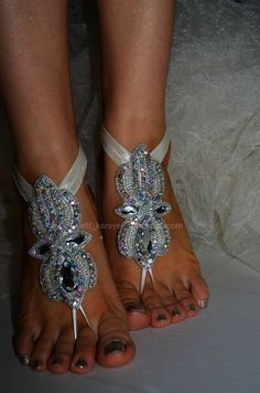 free ship_Rhinestone anklet Beach wedding barefoot by newgloves Nude Sandals, Anklet, Barefoot, Gloves, Ship, Diamond, Bracelets, Beach, Free