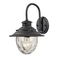Titan Lighting Searsport 1-Light Outdoor Weathered Charcoal Sconce-TN-8399 - The Home Depot