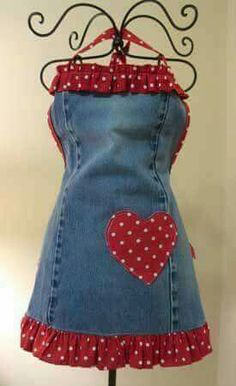 55 Ideas Sewing Projects Apron Denim Jeans For 2019 Sewing Aprons, Sewing Clothes, Denim Aprons, Artisanats Denim, Jean Apron, Diy Kleidung, Cute Aprons, Denim Ideas, Denim Crafts