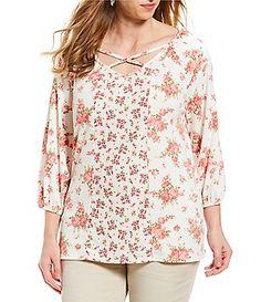 3a18cb7d21d Westbound Plus Size 3 4 Sleeve X-Cross Floral Print Top