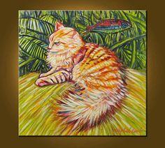 CAT COMMISSION  Wizard of Oz Cat  24 x 24 inch by ElizabethGraf