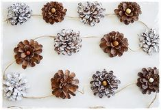 Celebrate Holiday Cheer by DIY Creative Christmas Garlands : DIY Pine Cone Garland Pinecone Garland, Diy Christmas Garland, Diy Christmas Decorations Easy, Holiday Crafts, Christmas Holidays, Christmas Tree, Fall Crafts, Pinecone Decor, Pine Garland