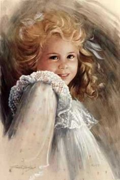 Art Illustration - what a cute and charming portrait of a young beautiful little girl painted by talented artist Brenda Burke. ;) Mo