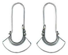 Unique Sterling Silver Hoop Earrings, 'eBell' #jewelry #silver #earrings #amazon