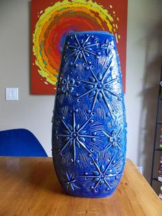 "Scheurich Kosmos 18"" West German Floor Vase 263-46 Mid Century Modern Atomic Starburst Blue 1970s Ceramics and Pottery"