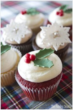 Festive Holiday Cupcakes with Holly Berries & Sparkly Snowflakes by The Pastry Studio: Daytona Beach, Fl