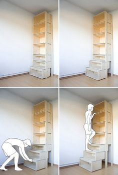 Bookcase that turns into stairs.  I adore this! (Though I wonder how easy it would be to pull out the shelves once they are filled with books. Pull Out Shelves, Pull Out Drawers, Ladder Shelves, Drawer Shelves, Bookcase Stairs, Cheap Shelves, Stair Shelves, Bookcases, Ceiling Shelves