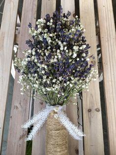 Bridal Bouquet Dried English Lavender and Gypsophila