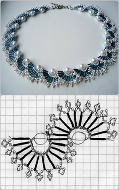 67 Best ideas for diy jewelry tutorials necklace beautiful Bead Jewellery, Seed Bead Jewelry, Beading Jewelry, Jewelry Findings, Beaded Necklace Patterns, Beaded Bracelets, Bib Necklaces, Pearl Necklace, Lace Necklace