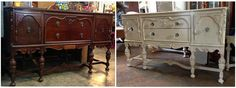A fresh coat of paint with a shabby application turned this depressing buffet into a beautiful diningroom eyecatcher!