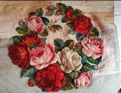 Antique/ vintage tapestry needle work with 3d effect roses 54x52cm