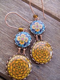 Mexican jewelry, Mexican earrings, Mexican plates, Folk art, drop earrings, Southwestern, statement earrings, Talavera pottery, MTO