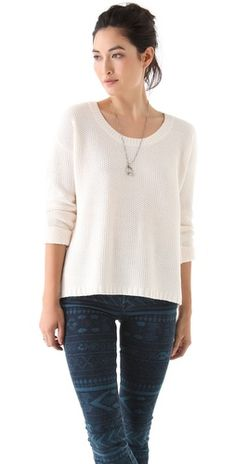 madewell textured sweater w printed denim=  #fall