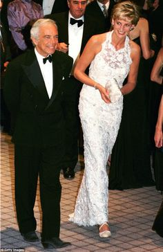 Princess Diana, escorted by fashion designer Ralph Lauren during an event at the National Building Museum in Washington DC in 1996