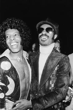 Stevie Wonder and Sly Stone, in a diamond encrusted Star of David necklace, in 1975. Photo: Bernard Gotfryd/Getty Images.