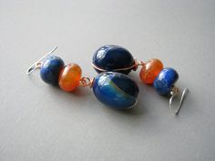 Agate Gemstone Earrings Blue and Orange Long Dangles by zatanah, $30.00