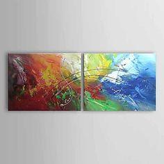 met de hand geschilderde abstracte olieverf met gestrekte frame - set van 2 – EUR € 82.49