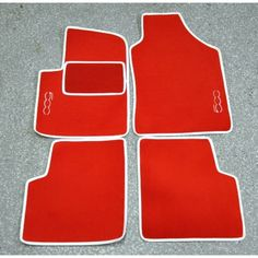 FIAT 500 Floor Mats by BLACK (set of 4) - Carpet - Red w/ 500 Logo - FIAT 500 Parts and Accessories