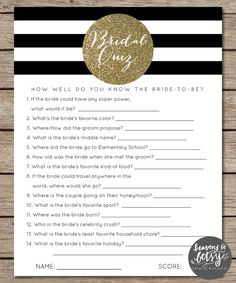 Black and White Striped/Gold Glitter Bridal Quiz and Wedding Games INSTANT DOWNLOAD by HTBHandmade
