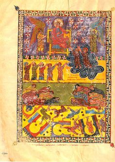 "Beato de Escalada: Lámina 3 or Beatus manuscript of San Miguel, Escalada. ""The two witnesses went up to heaven and the earthquake occurs"".  922-958? CE."