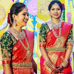 50 Stunning Bridal Sarees That Are Our Favourites From The Year 2017 Indian Bridal Sarees, Bridal Silk Saree, Indian Bridal Outfits, Indian Bridal Fashion, Silk Sarees, Saree Wedding, Wedding Bride, Wedding Dresses, Wedding Saree Blouse Designs
