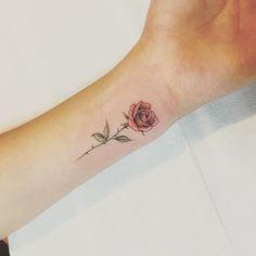 Little Rose Tattoos, Rose Tattoos On Wrist, Rose Tattoos For Women, Small Wrist Tattoos, Tattoos For Guys, Rose Thorn Tattoo, Tattoo Girls, Rosa Tattoos, Vine Tattoos
