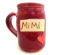 Mothers Day Handmade Pottery Mug Mimi burgundy by jewelpottery