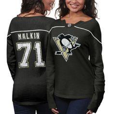 Reebok Evgeni Malkin Pittsburgh Penguins Ladies Fan Diva Jersey Shirt - Black Heather
