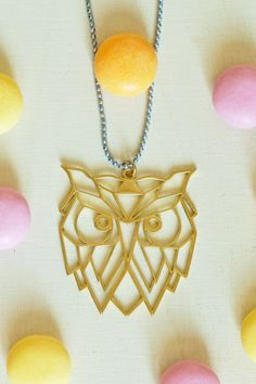 Messing, Kind Mode, Pendant Necklace, Jewelry, Owl Necklace, Owl Jewelry, Etsy Jewelry, Geometric Owl, Handcrafted Gifts