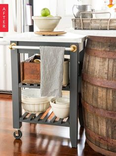 These kitchen IKEA hacks will make your kitchen chic for a cheap price. From stunning seating to storage solutions, these IKEA hacks have you covered. Kitchen Island Ikea Hack, Ikea Kitchen Cart, Kitchen Furniture, Kitchen Storage, Diy Furniture, Ikea Island, Ikea Cart, Island Bar, Furniture Stores