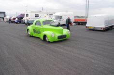 Jon Giles at speed in the pits because he was running in two classes, Super Gas & Super Comp, at the Easter Thunderball.
