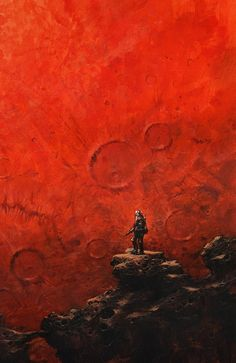Astronaut standing on cliff viewing red planet Mars