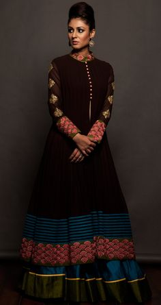 SVA Coffee brown jacket and lehenga set
