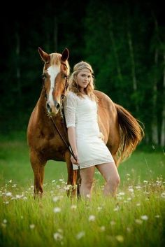 Cool horse and hippie girl.