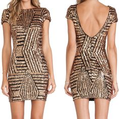 backless short sleeve package hip sequined  dress S4704