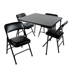 Heavy Duty 5 Piece XL Card Table and Triple Braced Padded Chair Set in Vinyl Upholstery Black or Beige (Black)