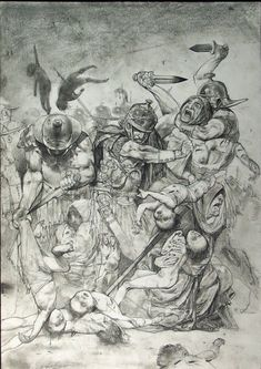 Romans and gladiators by Simon Bisley. Simon Bisley, Comic Style Art, Comic Art, Cool Sketches, Cool Drawings, Batman, Figure Drawing Practice, Jordi Bernet, Ligne Claire