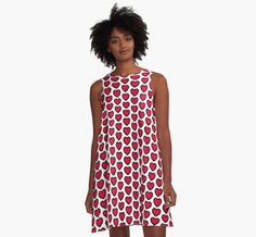 Red Love Heart A-Line Dresses from Ricaso